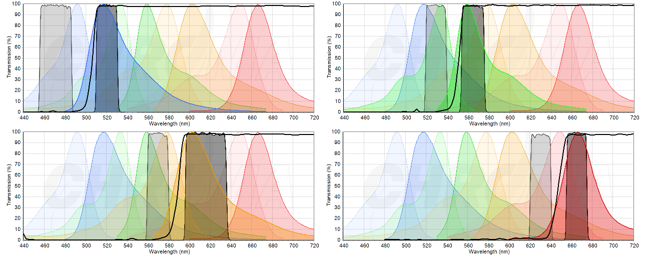 two detection schemes used to detect the same four fluorophores, FAM, HEX, ROX and Cy5